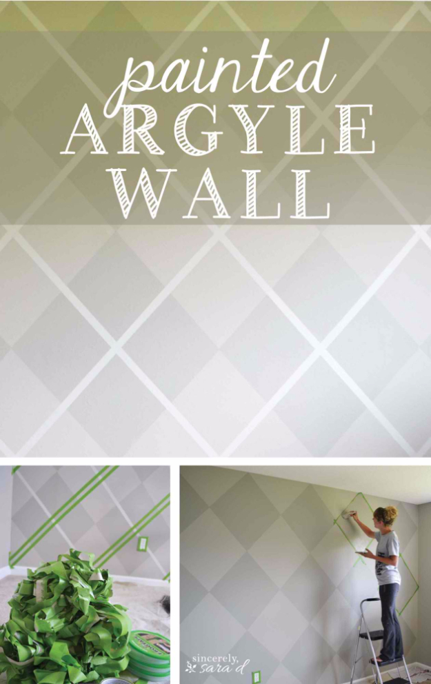 DIY Ideas for Painting Walls - Argyle Painted Wall - Cool Ways To Paint Walls - Techniques, Tips, Stencils, Tutorials, Fun Colors and Creative Designs for Living Room, Bedroom, Kids Room, Bathroom and Kitchen #homeimprovement #diydecor #roomideas #teenrooms #walldecor #paintingideas