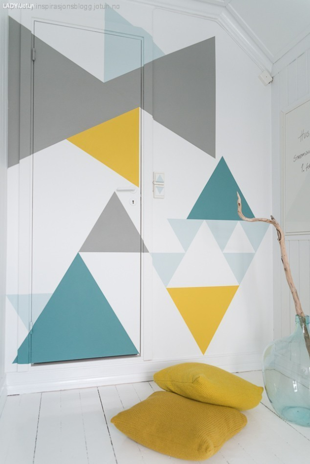 DIY Ideas for Painting Walls - DIY Geometric Walls In Spring Colors - Cool Ways To Paint Walls - Techniques, Tips, Stencils, Tutorials, Fun Colors and Creative Designs for Living Room, Bedroom, Kids Room, Bathroom and Kitchen #homeimprovement #diydecor #roomideas #teenrooms #walldecor #paintingideas