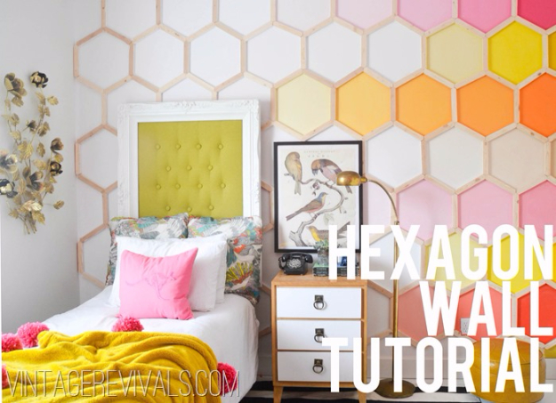 DIY Ideas for Painting Walls - DIY Hexagon Wall Treatment - Cool Ways To Paint Walls - Techniques, Tips, Stencils, Tutorials, Fun Colors and Creative Designs for Living Room, Bedroom, Kids Room, Bathroom and Kitchen http://diyprojectsforteens.com/cool-ways-to-paint-walls