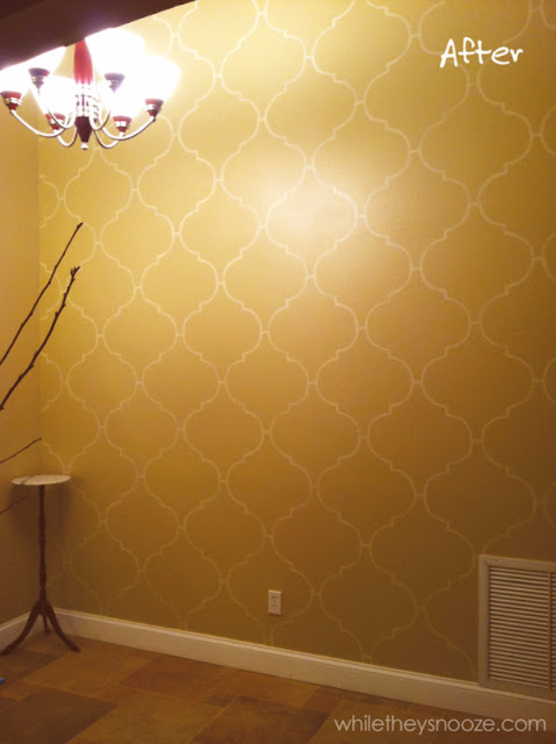 DIY Ideas for Painting Walls - DIY Moroccan Style Wall Stencil - Cool Ways To Paint Walls - Techniques, Tips, Stencils, Tutorials, Fun Colors and Creative Designs for Living Room, Bedroom, Kids Room, Bathroom and Kitchen #homeimprovement #diydecor #roomideas #teenrooms #walldecor #paintingideas