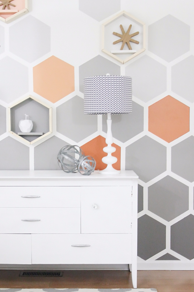DIY Ideas for Painting Walls - DIY Ombre Hexagon Wall - Cool Ways To Paint Walls - Techniques, Tips, Stencils, Tutorials, Fun Colors and Creative Designs for Living Room, Bedroom, Kids Room, Bathroom and Kitchen #homeimprovement #diydecor #roomideas #teenrooms #walldecor #paintingideas