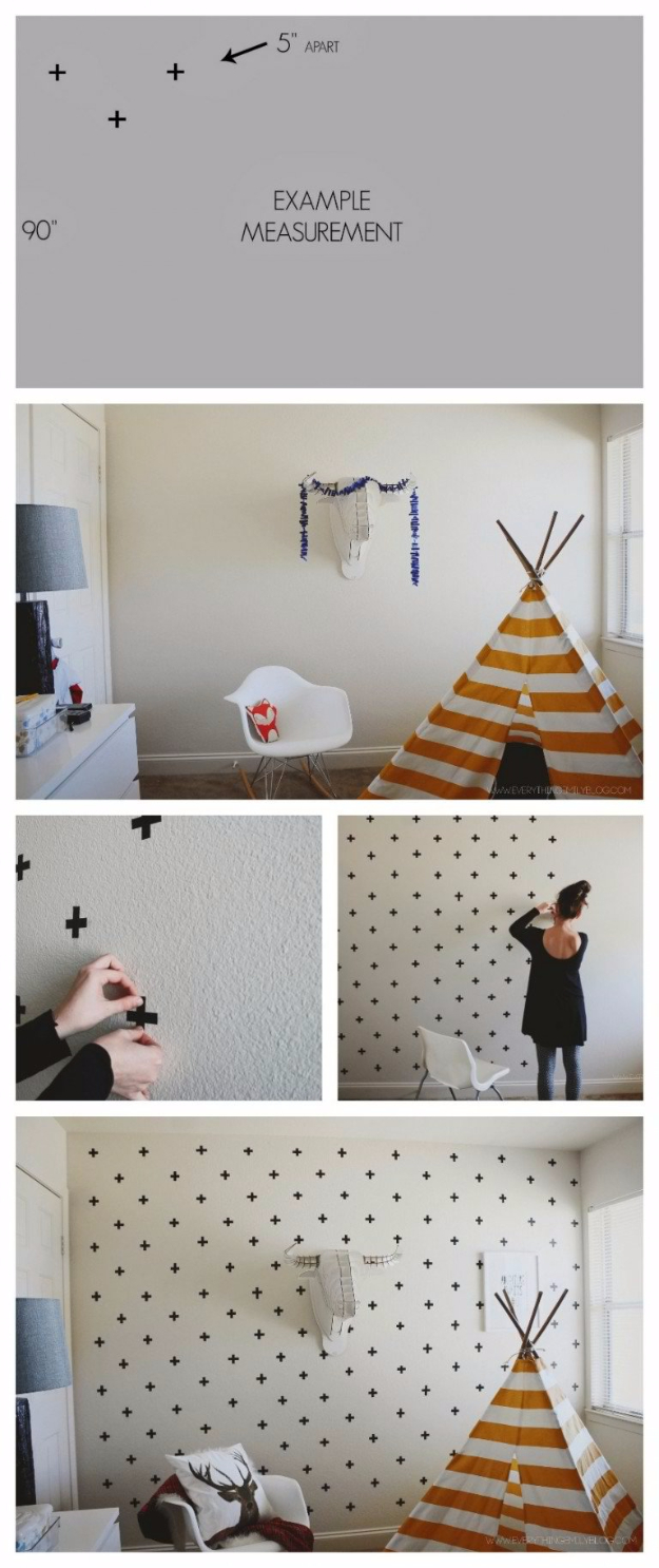DIY Ideas for Painting Walls - DIY Washi Tape Wall Decals - Cool Ways To Paint Walls - Techniques, Tips, Stencils, Tutorials, Fun Colors and Creative Designs for Living Room, Bedroom, Kids Room, Bathroom and Kitchen #homeimprovement #diydecor #roomideas #teenrooms #walldecor #paintingideas