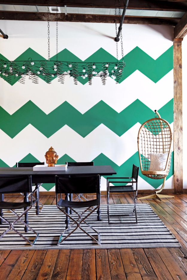 Creative dIY Wall Painting Ideas - Emerald Chevron Wall Tutorial - Cool Ways To Paint Walls - Techniques, Tips, Stencils, Tutorials, Fun Colors and Creative Designs for Living Room, Bedroom, Kids Room, Bathroom and Kitchen #homeimprovement #diydecor #roomideas #teenrooms #walldecor #paintingideas