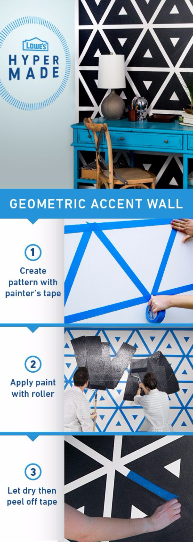 DIY Ideas for Painting Walls - How to Paint A Geometric Accent Wall - Cool Ways To Paint Walls - Techniques, Tips, Stencils, Tutorials, Fun Colors and Creative Designs for Living Room, Bedroom, Kids Room, Bathroom and Kitchen #homeimprovement #diydecor #roomideas #teenrooms #walldecor #paintingideas