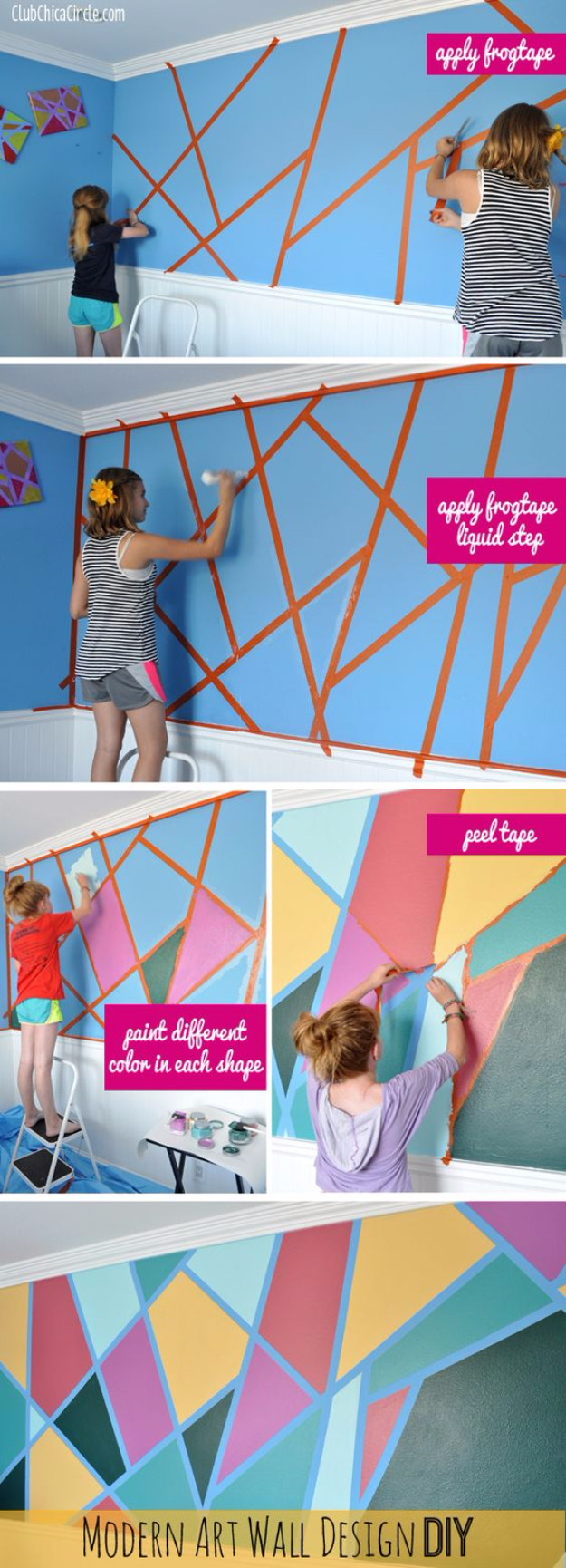 DIY Ideas for Painting Walls - DYI Modern Art Wall Design DIY - Cool Ways To Paint Walls - Techniques, Tips, Stencils, Tutorials, Fun Colors and Creative Designs for Living Room, Bedroom, Kids Room, Bathroom and Kitchen #homeimprovement #diydecor #roomideas #teenrooms #walldecor #paintingideas