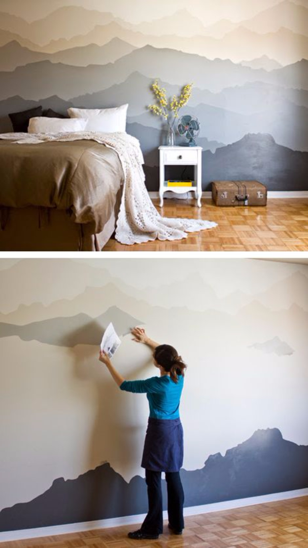 DIY Ideas for Painting Walls - Mountain Mural Bedroom Makeover - Cool Ways To Paint Walls - Techniques, Tips, Stencils, Tutorials, Fun Colors and Creative Designs for Living Room, Bedroom, Kids Room, Bathroom and Kitchen #homeimprovement #diydecor #roomideas #teenrooms #walldecor #paintingideas