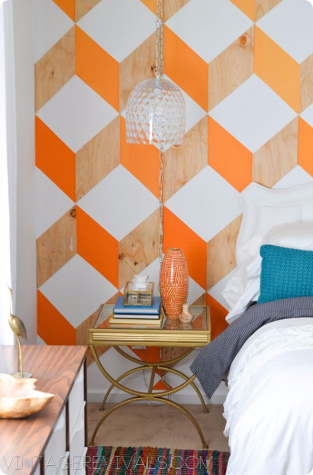 DIY Ideas For Painting Walls   Orange And Wood Ombre 3D Cube Wall   Cool  Ways Part 76