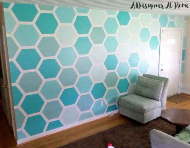 DIY Ideas for Painting Walls - Paint A Hexagon Patterned Wall - Cool Ways To Paint Walls - Techniques, Tips, Stencils, Tutorials, Fun Colors and Creative Designs for Living Room, Bedroom, Kids Room, Bathroom and Kitchen #homeimprovement #diydecor #roomideas #teenrooms #walldecor #paintingideas