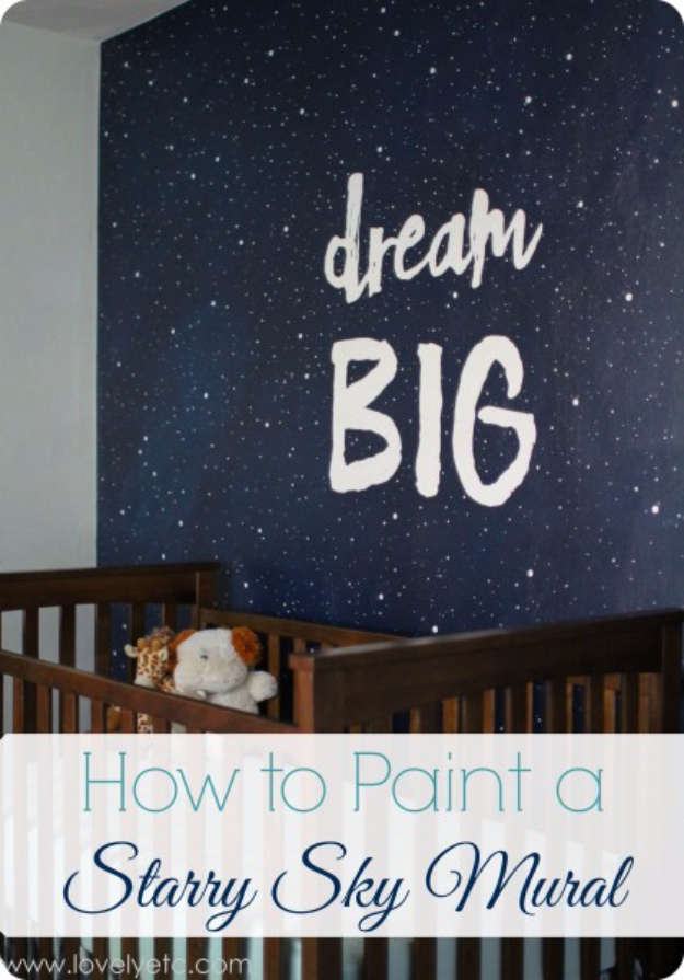 DIY Ideas for Painting Walls - Paint A Starry Sky Mural - Cool Ways To Paint Walls - Techniques, Tips, Stencils, Tutorials, Fun Colors and Creative Designs for Living Room, Bedroom, Kids Room, Bathroom and Kitchen #homeimprovement #diydecor #roomideas #teenrooms #walldecor #paintingideas