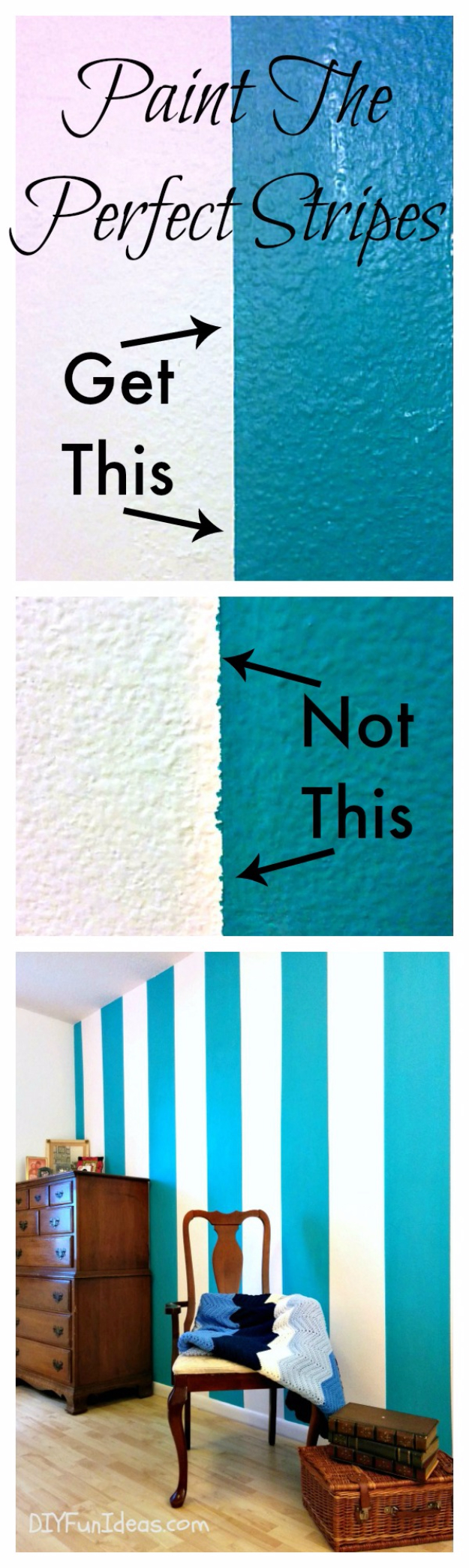 DIY Ideas for Painting Walls - Paint Sharp Lines And Perfect Stripes - Cool Ways To Paint Walls - Techniques, Tips, Stencils, Tutorials, Fun Colors and Creative Designs for Living Room, Bedroom, Kids Room, Bathroom and Kitchen #homeimprovement #diydecor #roomideas #teenrooms #walldecor #paintingideas