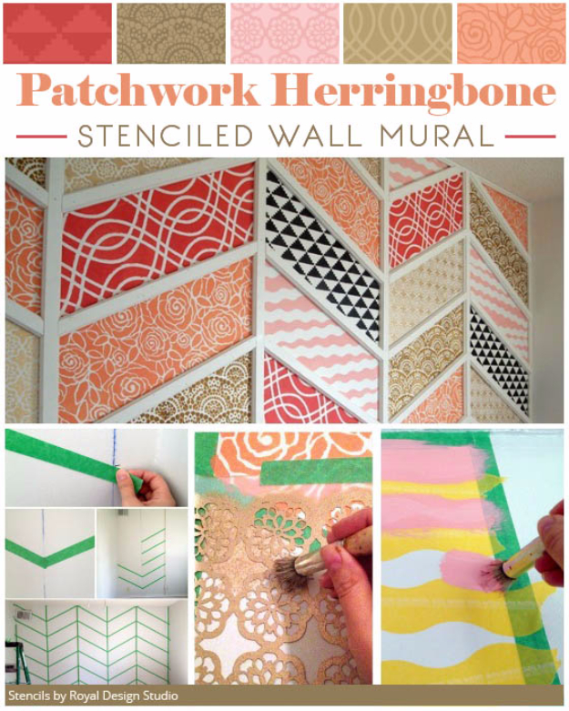 DIY Ideas for Painting Walls - Patchwork Herringbone Stenciled Wall Mural - Cool Ways To Paint Walls - Techniques, Tips, Stencils, Tutorials, Fun Colors and Creative Designs for Living Room, Bedroom, Kids Room, Bathroom and Kitchen #homeimprovement #diydecor #roomideas #teenrooms #walldecor #paintingideas