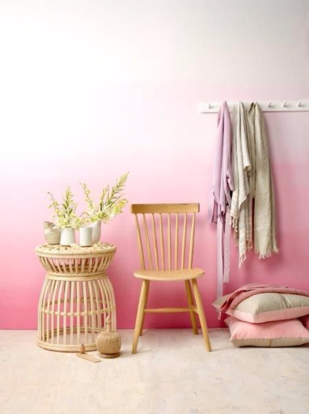 DIY Ideas for Painting Walls - Pink Ombre Wall - Cool Ways To Paint Walls - Techniques, Tips, Stencils, Tutorials, Fun Colors and Creative Designs for Living Room, Bedroom, Kids Room, Bathroom and Kitchen #homeimprovement #diydecor #roomideas #teenrooms #walldecor #paintingideas