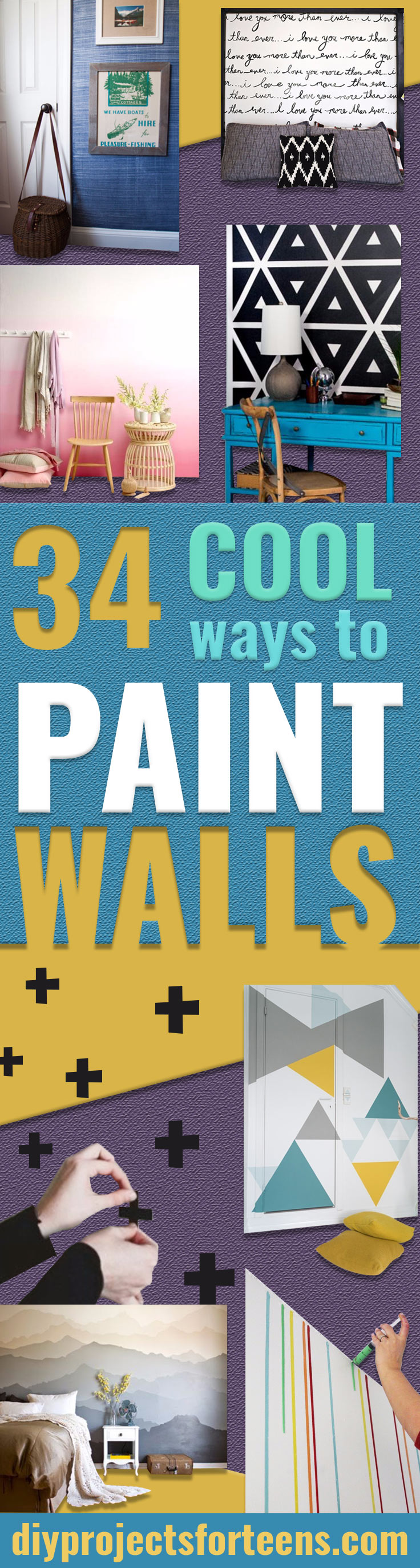 DIY Ideas for Painting Walls - Cool Ways To Paint A Walls In Bedroom- Room Painting Idea - Techniques, Tips, Stencils, Tutorials, Fun Colors and Creative Designs for Living Room, Bedroom, Kids Room, Bathroom and Kitchen #homeimprovement #diydecor #roomideas #teenrooms #walldecor #paintingideas