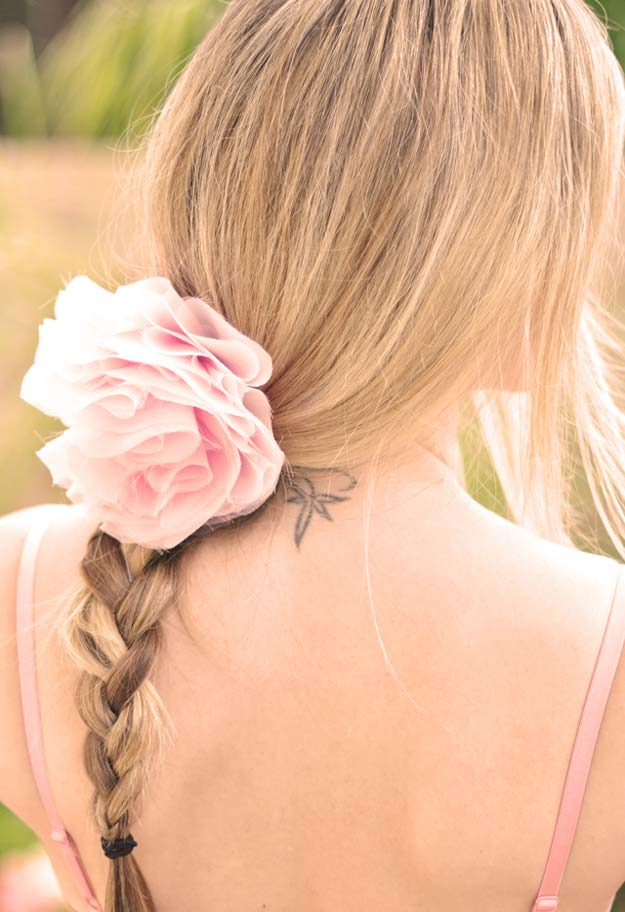 38 Creative DIY Hair Accessories - Chiffon Flower Brooch & Hair Pin - Create Pretty Hairstyles for Women, Teens and Girls with These Easy Tutorials - Vintage and Boho Looks for Prom and Wedding - Step by Step Instructions for Cool Headbands, Barettes, Pony Tail Holders, Hair Clips, Bobby Pins and Bows