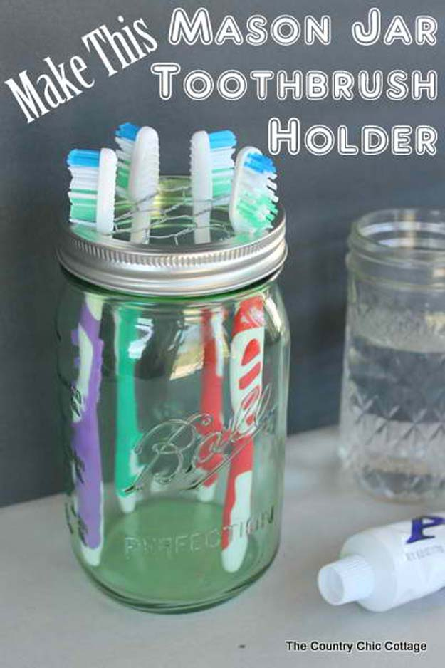 DIY Bathroom Decor Ideas for Teens - Mason Jar Toothbrush Holder - Best Creative, Cool Bath Decorations and Accessories for Teenagers - Easy, Cheap, Cute and Quick Craft Projects That Are Fun To Make. Easy to Follow Step by Step Tutorials http://diyprojectsforteens.com/diy-bathroom-decor-teens