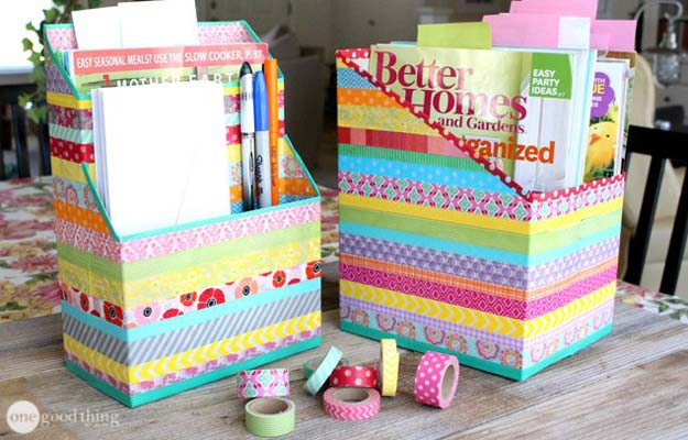 Best DIY Rainbow Crafts Ideas - Washi Tape Organizer - Fun DIY Projects With Rainbows Make Cool Room and Wall Decor, Party and Gift Ideas, Clothes, Jewelry and Hair Accessories - Awesome Ideas and Step by Step Tutorials for Teens and Adults, Girls and Tweens http://diyprojectsforteens.com/diy-projects-with-rainbows