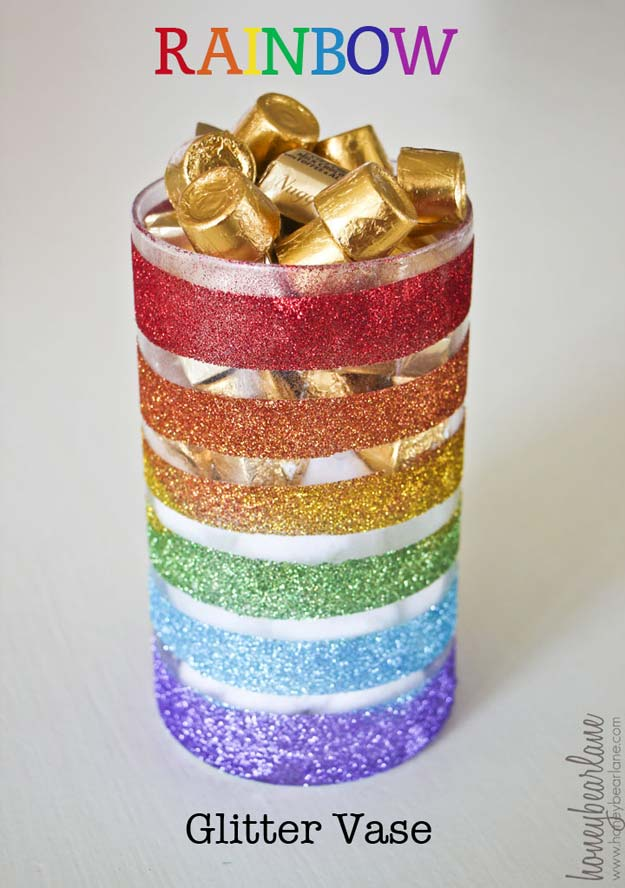 Best DIY Rainbow Crafts Ideas - Rainbow Glitter Vase - Fun DIY Projects With Rainbows Make Cool Room and Wall Decor, Party and Gift Ideas, Clothes, Jewelry and Hair Accessories - Awesome Ideas and Step by Step Tutorials for Teens and Adults, Girls and Tweens http://diyprojectsforteens.com/diy-projects-with-rainbows