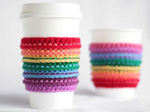 Best DIY Rainbow Crafts Ideas - Crochet Rainbow Cup Cozy - Fun DIY Projects With Rainbows Make Cool Room and Wall Decor, Party and Gift Ideas, Clothes, Jewelry and Hair Accessories - Awesome Ideas and Step by Step Tutorials for Teens and Adults, Girls and Tweens http://diyprojectsforteens.com/diy-projects-with-rainbows