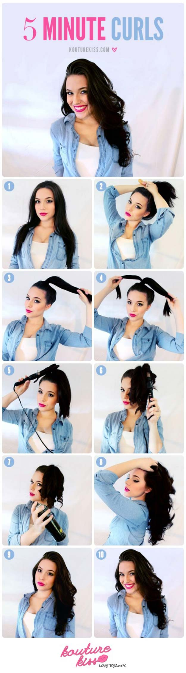 Cool and Easy DIY Hairstyles - 5 Minute Curls - Quick and Easy Ideas for Back to School Styles for Medium, Short and Long Hair - Fun Tips and Best Step by Step Tutorials for Teens, Prom, Weddings, Special Occasions and Work. Up dos, Braids, Top Knots and Buns, Super Summer Looks #hairstyles #hair #teens #easyhairstyles #diy #beauty