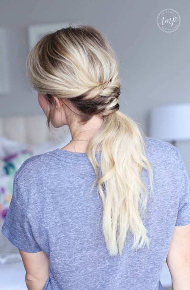 Cool and Easy DIY Hairstyles - Twisted Ponytail - Quick and Easy Ideas for Back to School Styles for Medium, Short and Long Hair - Fun Tips and Best Step by Step Tutorials for Teens, Prom, Weddings, Special Occasions and Work. Up dos, Braids, Top Knots and Buns, Super Summer Looks #hairstyles #hair #teens #easyhairstyles #diy #beauty