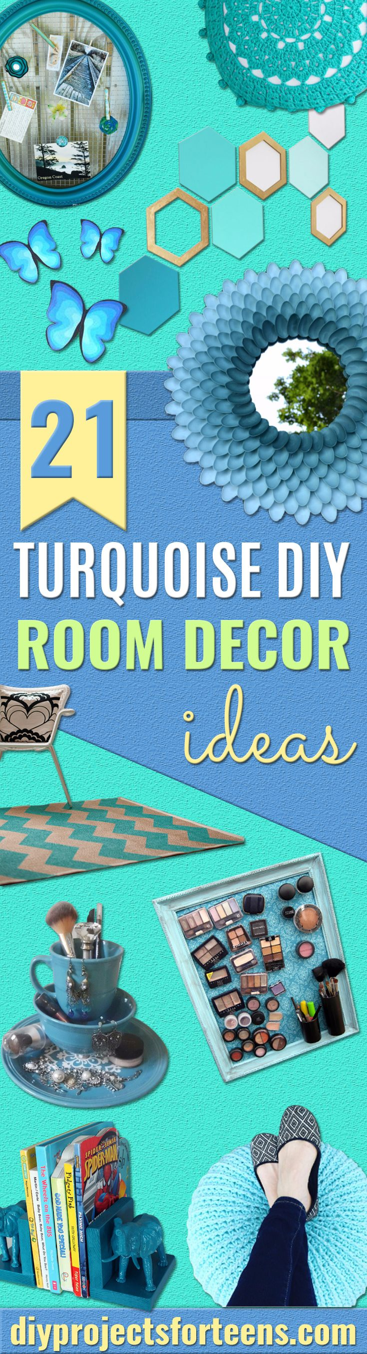 Cool Turquoise Room Decor Ideas - Fun Aqua Decorating Looks and Color for Teen Bedroom, Bathroom, Accent Walls and Home Decor - Fun Crafts and Wall Art for Your Room