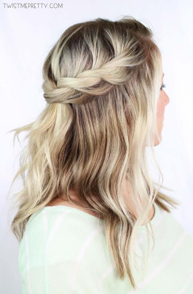 Cool and Easy DIY Hairstyles - Twisted Crown Braid - Quick and Easy Ideas for Back to School Styles for Medium, Short and Long Hair - Fun Tips and Best Step by Step Tutorials for Teens, Prom, Weddings, Special Occasions and Work. Up dos, Braids, Top Knots and Buns, Super Summer Looks #hairstyles #hair #teens #easyhairstyles #diy #beauty