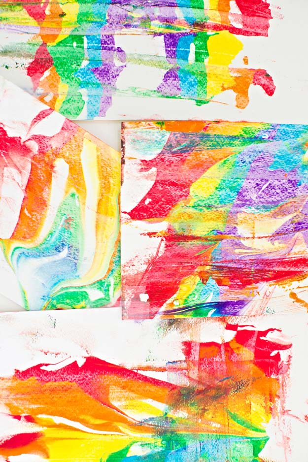 Best DIY Rainbow Crafts Ideas - Rainbow Shaving Marbled Art - Fun DIY Projects With Rainbows Make Cool Room and Wall Decor, Party and Gift Ideas, Clothes, Jewelry and Hair Accessories - Awesome Ideas and Step by Step Tutorials for Teens and Adults, Girls and Tweens http://diyprojectsforteens.com/diy-projects-with-rainbows