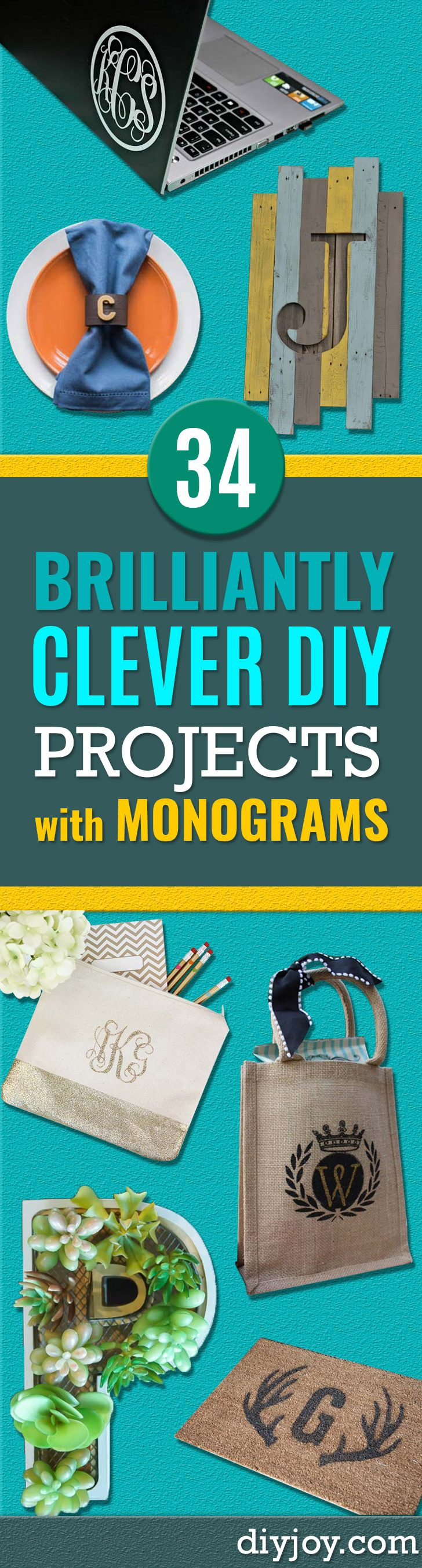 DIY Monogram Projects and Crafts Ideas - Letters, Wall Art, Mason Jar Ideas, Printables, Stickers, Embroidery Tutorials, Home and Room Decor, Pillows, Shirts and Fashion Tutorials - Fun and Cool Ideas for Teens, Tweens and Adults Make Great DIY Gifts http://stage.diyprojectsforteens.com/diy-projects-with-monograms