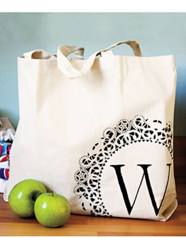 DIY Monogram Projects and Crafts Ideas -Monogrammed Tote- Letters, Wall Art, Mason Jar Ideas, Printables, Stickers, Embroidery Tutorials, Home and Room Decor, Pillows, Shirts and Fashion Tutorials - Fun and Cool Ideas for Teens, Tweens and Adults Make Great DIY Gifts