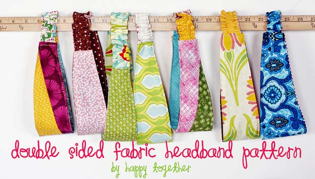 38 Creative DIY Hair Accessories - Double Sided Fabric Headband - Create Pretty Hairstyles for Women, Teens and Girls with These Easy Tutorials - Vintage and Boho Looks for Prom and Wedding - Step by Step Instructions for Cool Headbands, Barettes, Pony Tail Holders, Hair Clips, Bobby Pins and Bows http://diyprojectsforteens.com/diy-hair-accessories