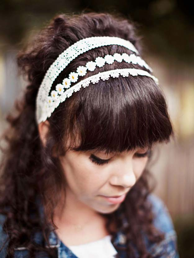 38 Creative DIY Hair Accessories - Lace Headband - Create Pretty Hairstyles for Women, Teens and Girls with These Easy Tutorials - Vintage and Boho Looks for Prom and Wedding - Step by Step Instructions for Cool Headbands, Barettes, Pony Tail Holders, Hair Clips, Bobby Pins and Bows