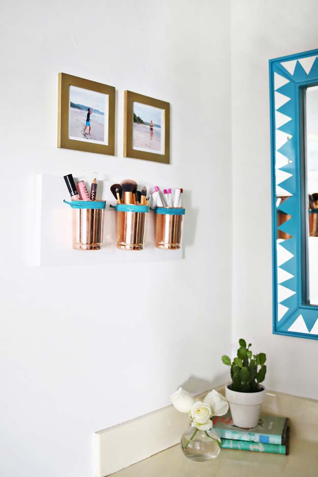 DIY Bathroom Decor Ideas for Teens - Leather Copper Cup Organizer - Best Creative, Cool
