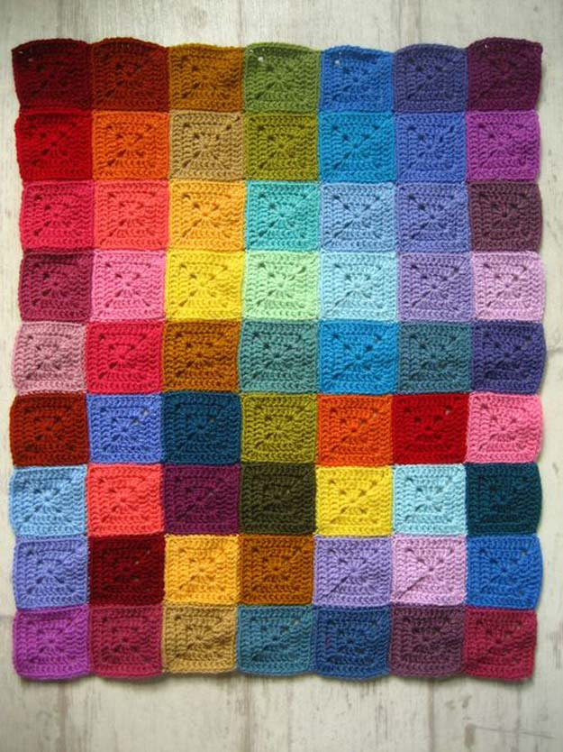 Best DIY Rainbow Crafts Ideas - Solid Granny Square - Fun DIY Projects With Rainbows Make Cool Room and Wall Decor, Party and Gift Ideas, Clothes, Jewelry and Hair Accessories - Awesome Ideas and Step by Step Tutorials for Teens and Adults, Girls and Tweens http://diyprojectsforteens.com/diy-projects-with-rainbows