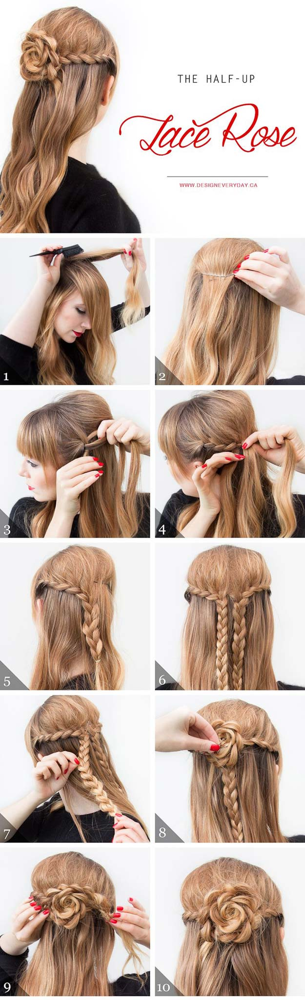 Cool and Easy DIY Hairstyles - The Half Up Lace Rose - Quick and Easy Ideas for Back to School Styles for Medium, Short and Long Hair - Fun Tips and Best Step by Step Tutorials for Teens, Prom, Weddings, Special Occasions and Work. Up dos, Braids, Top Knots and Buns, Super Summer Looks #hairstyles #hair #teens #easyhairstyles #diy #beauty