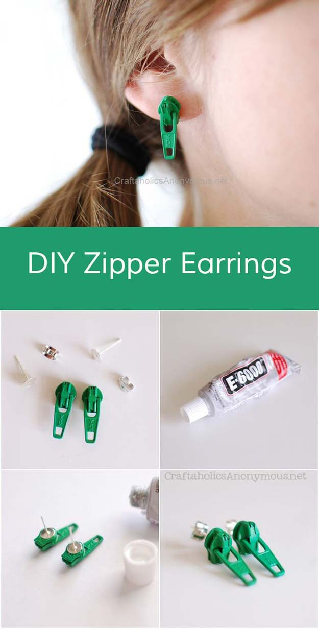 DIY Earrings and Homemade Jewelry Projects - Zipper Earring - Easy Studs, Ideas with Beads, Dangle Earring Tutorials, Wire, Feather, Simple Boho, Handmade Earring Cuff, Hoops and Cute Ideas for Teens and Adults #diygifts #diyteens #teengifts #teencrafts #diyearrings