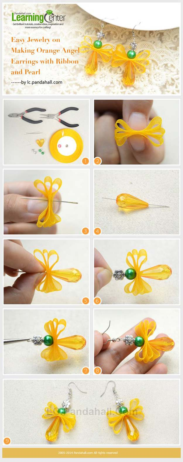 DIY Earrings and Homemade Jewelry Projects - Orange Angel Earrings with Ribbon and Pearl - Easy Studs, Ideas with Beads, Dangle Earring Tutorials, Wire, Feather, Simple Boho, Handmade Earring Cuff, Hoops and Cute Ideas for Teens and Adults #diygifts #diyteens #teengifts #teencrafts #diyearrings