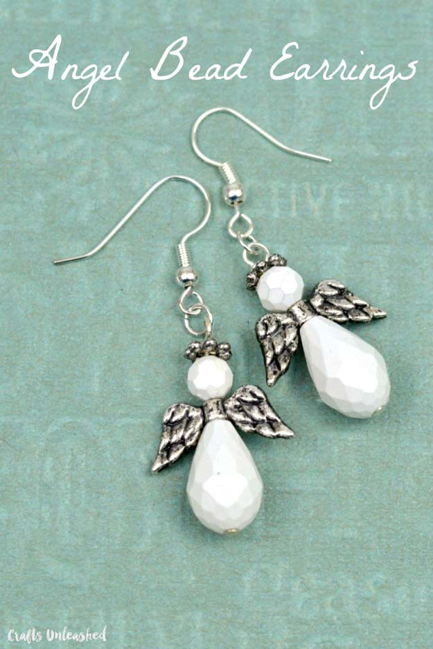 DIY Earrings and Homemade Jewelry Projects - Angel Bead Earrings - Easy Studs, Ideas with Beads, Dangle Earring Tutorials, Wire, Feather, Simple Boho, Handmade Earring Cuff, Hoops and Cute Ideas for Teens and Adults http://diyprojectsforteens.com/diy-earrings