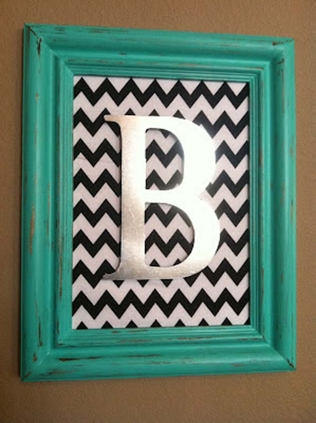 Best DIY Picture Frames and Photo Frame Ideas - Aqua Distress Monogram - How To Make Cool Handmade Projects from Wood, Canvas, Instagram Photos. Creative Birthday Gifts, Fun Crafts for Friends and Wall Art Tutorials #diyideas #diygifts #teencrafts