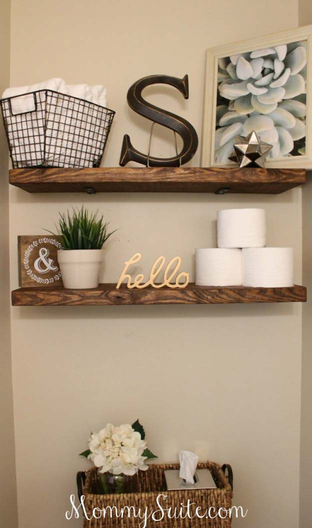 DIY Bathroom Decor Ideas for Teens - Floating Shelves - Best Creative, Cool  Bath Decorations