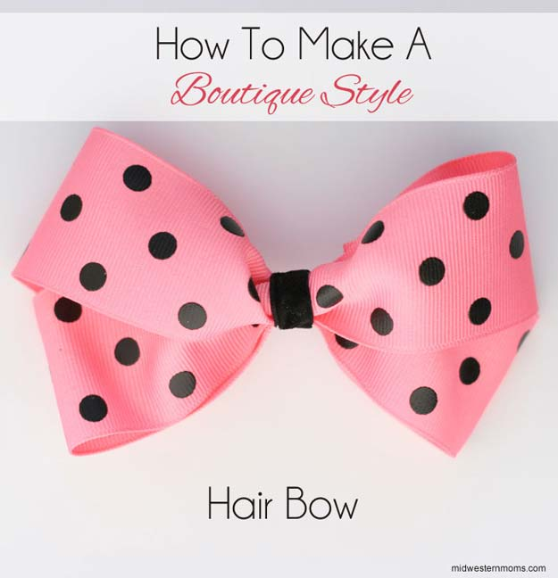 38 Creative DIY Hair Accessories - Boutique Style Hair Bow - Create Pretty Hairstyles for Women, Teens and Girls with These Easy Tutorials - Vintage and Boho Looks for Prom and Wedding - Step by Step Instructions for Cool Headbands, Barettes, Pony Tail Holders, Hair Clips, Bobby Pins and Bows http://diyprojectsforteens.com/diy-hair-accessories