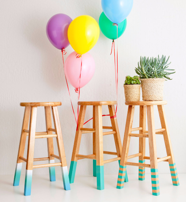 Cool Turquoise Room Decor Ideas - Color Dipped Stools - Fun Aqua Decorating Looks and Color for Teen Bedroom, Bathroom, Accent Walls and Home Decor - Fun Crafts and Wall Art for Your Room
