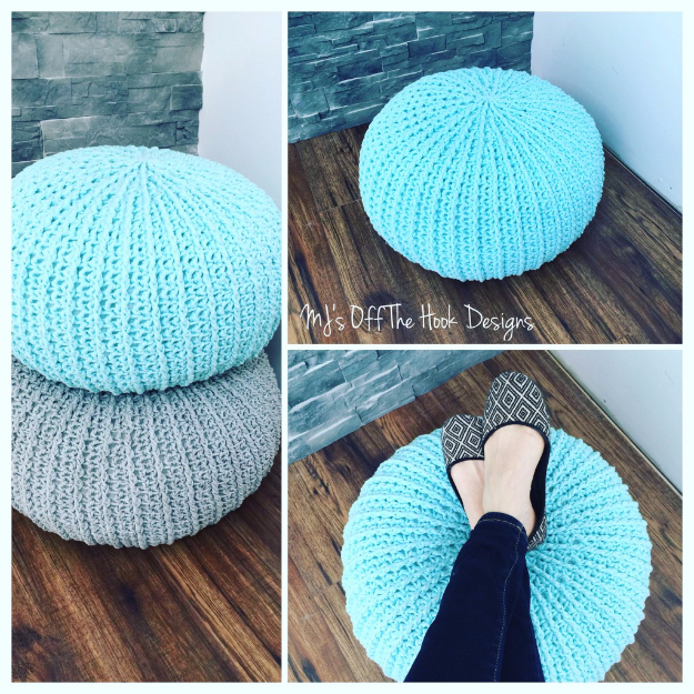 Cool Turquoise Room Decor Ideas - Crochet Floor Pouf - Fun Aqua Decorating Looks and Color for Teen Bedroom, Bathroom, Accent Walls and Home Decor - Fun Crafts and Wall Art for Your Room