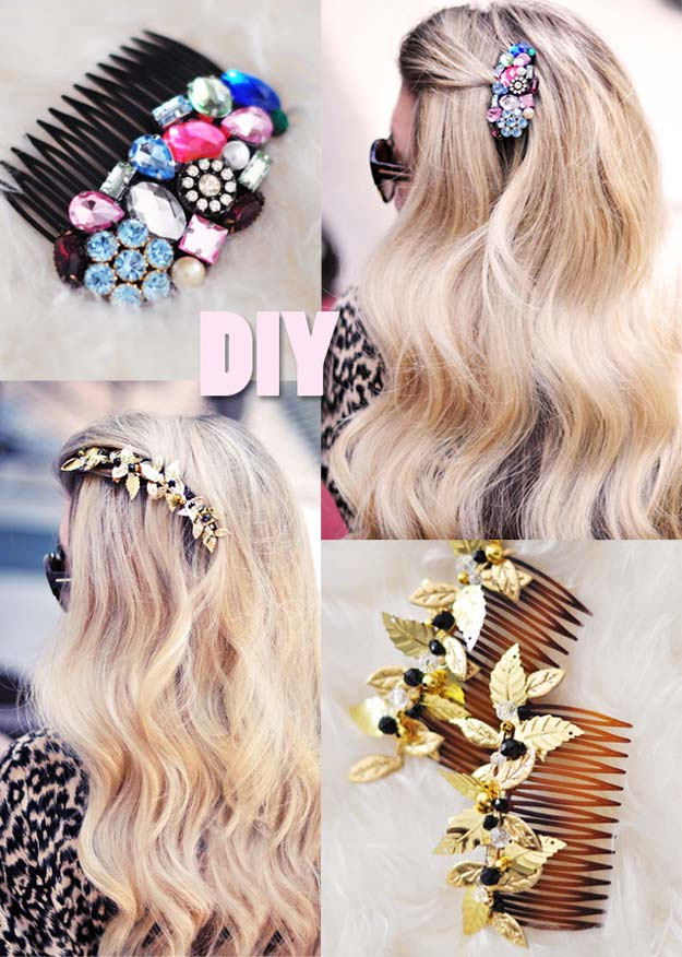 38 Creative DIY Hair Accessories - Bejeweled Hair Combs - Create Pretty Hairstyles for Women, Teens and Girls with These Easy Tutorials - Vintage and Boho Looks for Prom and Wedding - Step by Step Instructions for Cool Headbands, Barettes, Pony Tail Holders, Hair Clips, Bobby Pins and Bows