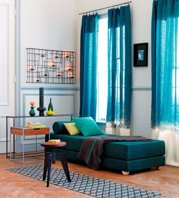 Beau Cool Turquoise Room Decor Ideas   DIY Bleached Curtain Panels   Fun Aqua  Decorating Looks And