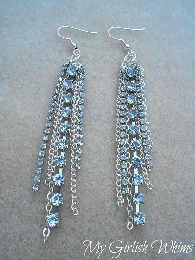 DIY Earrings and Homemade Jewelry Projects - Rhinestone Chain Earrings - Easy Studs, Ideas with Beads, Dangle Earring Tutorials, Wire, Feather, Simple Boho, Handmade Earring Cuff, Hoops and Cute Ideas for Teens and Adults #diygifts #diyteens #teengifts #teencrafts #diyearrings