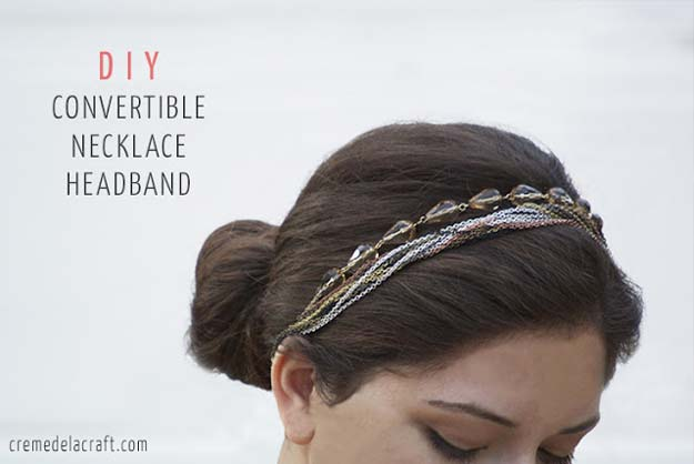 38 Creative DIY Hair Accessories - Convertible Necklace Headband- Create Pretty Hairstyles for Women, Teens and Girls with These Easy Tutorials - Vintage and Boho Looks for Prom and Wedding - Step by Step Instructions for Cool Headbands, Barettes, Pony Tail Holders, Hair Clips, Bobby Pins and Bows http://diyprojectsforteens.com/diy-hair-accessories