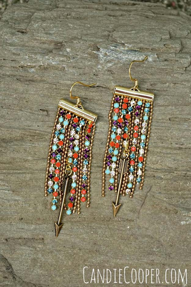 DIY Earrings and Homemade Jewelry Projects - Fringe Earrings - Easy Studs, Ideas with Beads, Dangle Earring Tutorials, Wire, Feather, Simple Boho, Handmade Earring Cuff, Hoops and Cute Ideas for Teens and Adults #diygifts #diyteens #teengifts #teencrafts #diyearrings