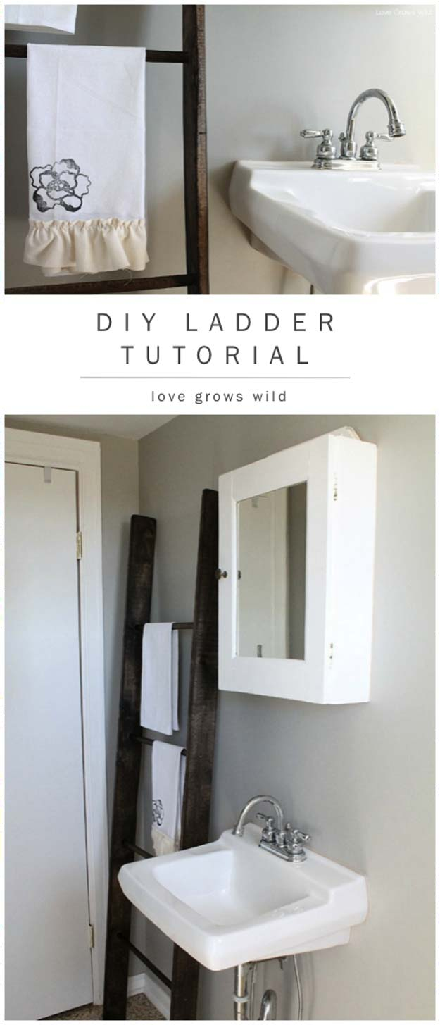 Bathroom diy decorations - Diy Bathroom Decor Ideas For Teens Ladder Tutorial Best Creative Cool Bath Decorations