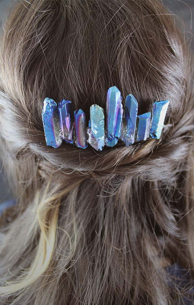 38 Creative DIY Hair Accessories - Lightsaber Crystals Hair Comb - Create Pretty Hairstyles for Women, Teens and Girls with These Easy Tutorials - Vintage and Boho Looks for Prom and Wedding - Step by Step Instructions for Cool Headbands, Barettes, Pony Tail Holders, Hair Clips, Bobby Pins and Bows