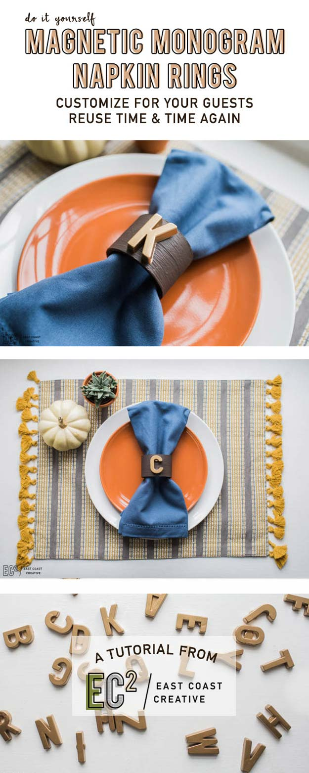 DIY Monogram Projects and Crafts Ideas -Magnetic Monograms Napkin Rings- Letters, Wall Art, Mason Jar Ideas, Printables, Stickers, Embroidery Tutorials, Home and Room Decor, Pillows, Shirts and Fashion Tutorials - Fun and Cool Ideas for Teens, Tweens and Adults Make Great DIY Gifts http://diyprojectsforteens.com/diy-projects-with-monograms
